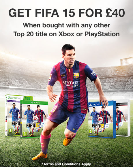 FIFA 15 for £40 when bought with another Top 20 title on Xbox or PlayStation