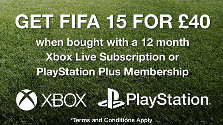 FIFA 15 for £40 when bought with a 12 month Xbox Live Subscription or PlayStation Plus Membership