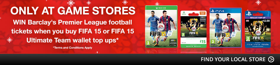 WIN Barclay's Premier League football tickets when you buy FIFA 15 or FIFA 15 Ultimate Team wallet top ups*