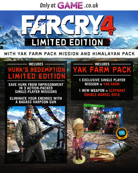 Far Cry 4 Limited Edition with Yak Farm Pack Mission and Himalayan Pack