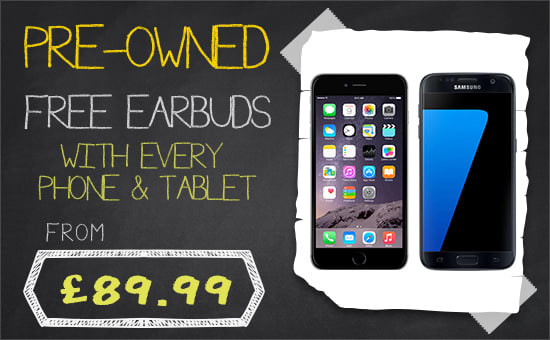 Free earbuds with Pre-owned phones & tablets