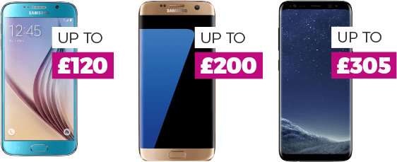 Trade-in your old phone. Get up to £120 on S6, £200 on S7 & £305 on S8