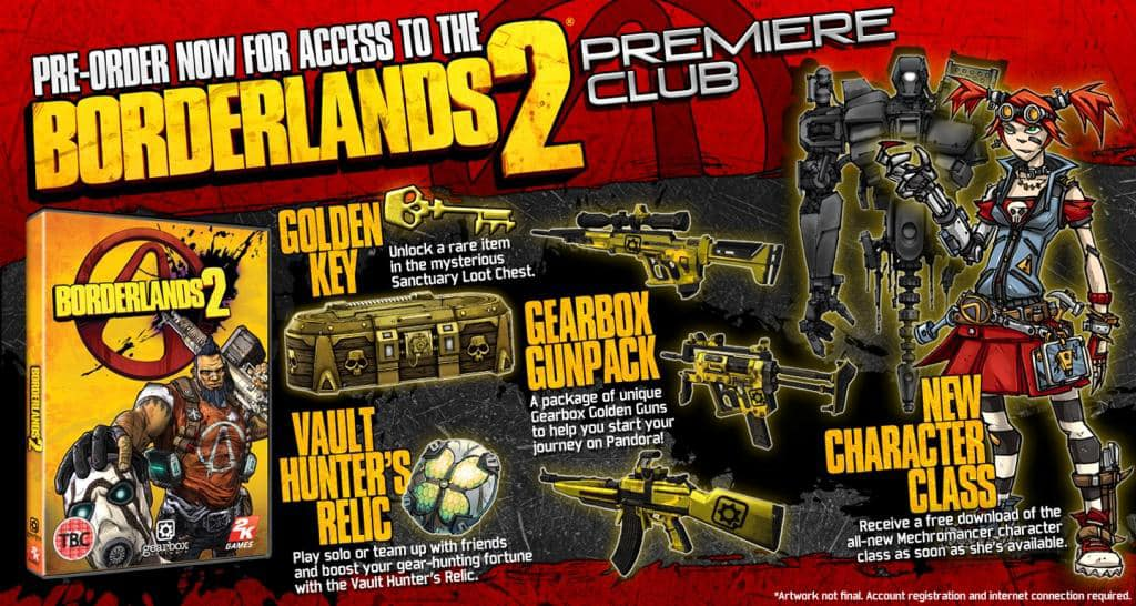 Guns, gear and more goodies in the Borderlands 2 Premier Club, only when you preorder