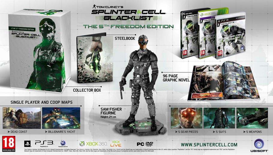 The Splinter Cell Blacklist 5th Freedom Edition available Exclusively at GAME for Xbox 360, PS3 and PC
