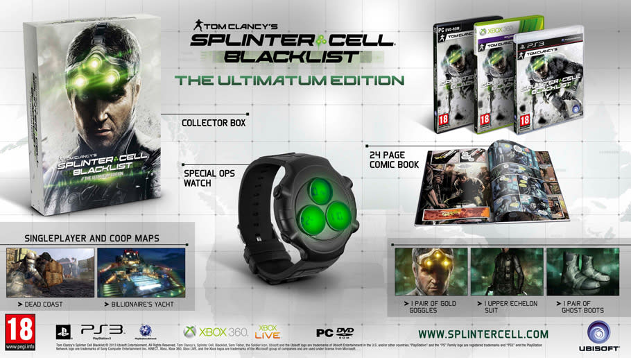 Splinter Cell Blacklist Ultimatum Edition available at GAME for Xbox 360, PS3 and PC