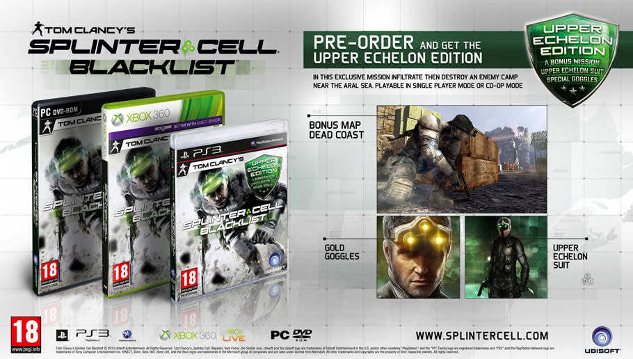 Splinter Cell Upper Echelon Edition available at GAME for Xbox 360, PS3 and PC with Exclusive content