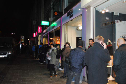 Queuing for the midnight launch of the PlayStation Vita at GAME, Oxford Street
