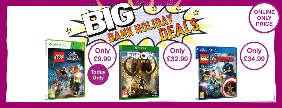 Bank Holiday Deals on a range of Xbox One, PS4, Xbox 360 and PS3 games - Buy Now at GAME.co.uk