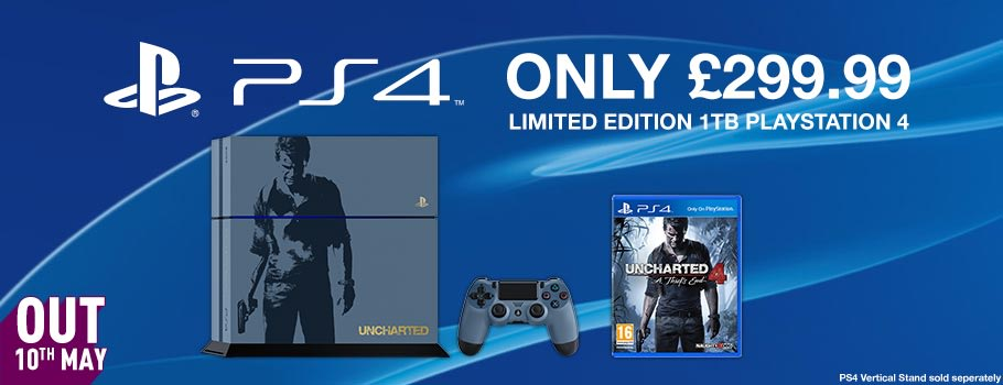 Limited Edition Uncharted 4 A Thief's End PS4 1TB Console  - Preorder Now at GAME.co.uk!