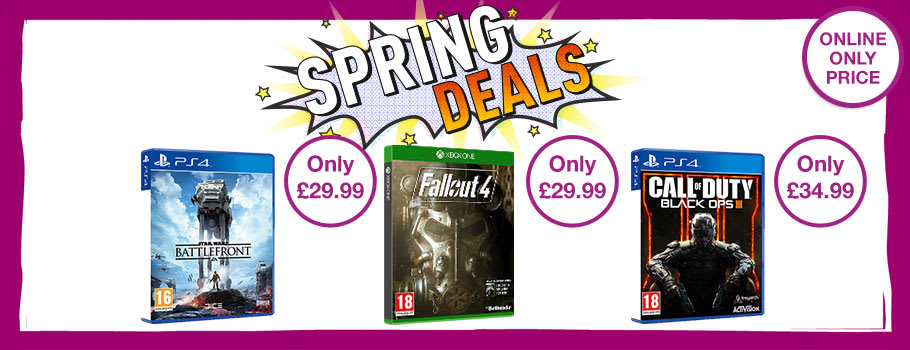 Spring Deals on a range of Xbox One, PS4, Xbox 360 and PS3 games - Buy Now at GAME.co.uk