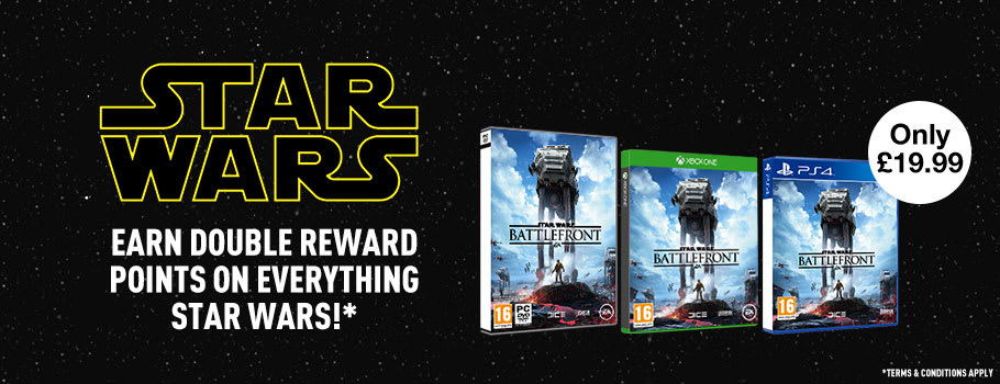 Star Wars:Earn Double Reward Points on Everything Star Wars - T&C's Apply - Buy Now at GAME.co.uk!