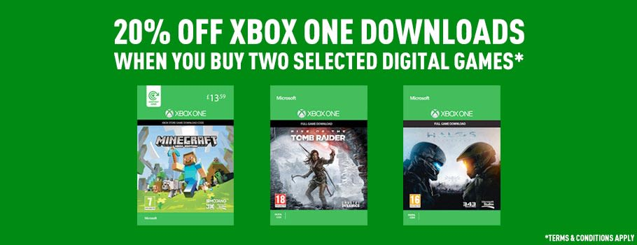 20% off Xbox One Downloads when you buy two selected digital games - Terms and Conditions apply - Download now from GAME.co.uk