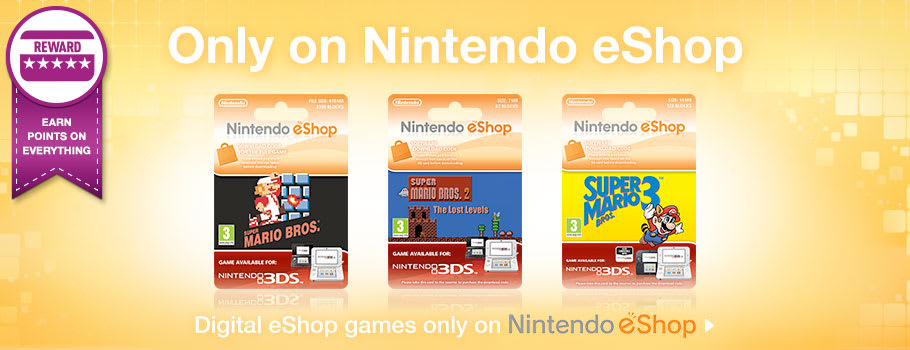 Only on eShop Super Mario Bros, Super Mario Bros 2, Super Mario Bros 3, for Nintendo eShop - Download Now at GAME.co.uk!