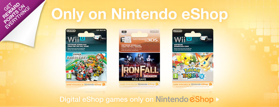 Super Mario Kart, Ironfall and Pokemon Rumble U only on Nintendo eSho - Download Now at GAME.co.uk!