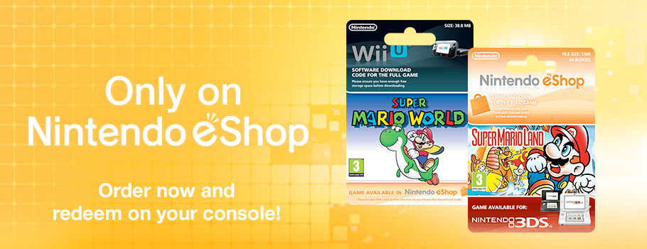 Only on eShop Super Mario World (Wii U), The Legend of Zelda (3DS), Super Mario Kart (Wii U), Super Mario 3D Land (3DS) - Download Now at GAME.co.uk!