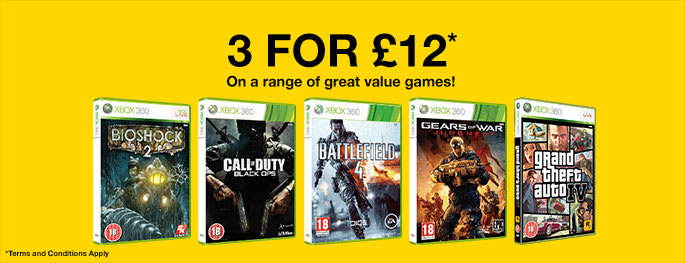 3 Preowned Xbox 360 games for £12 - Buy Now at GAME.co.uk!