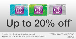 Up to 20% off On selected iTunes gift cards - for a limited time only!