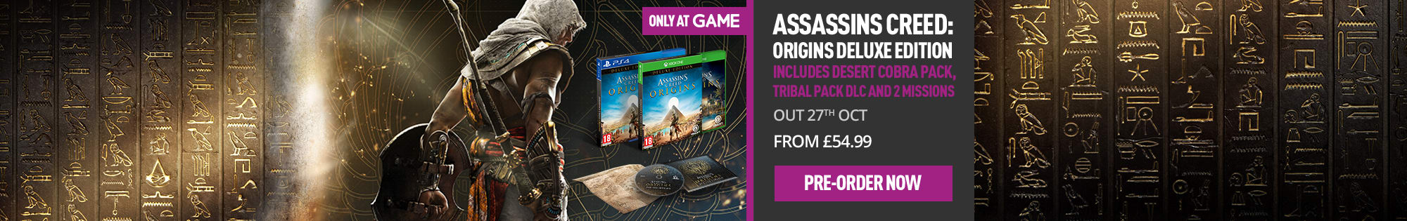 Assassin's Creed Origins - Deluxe Edition Only at GAME - Homepage banner