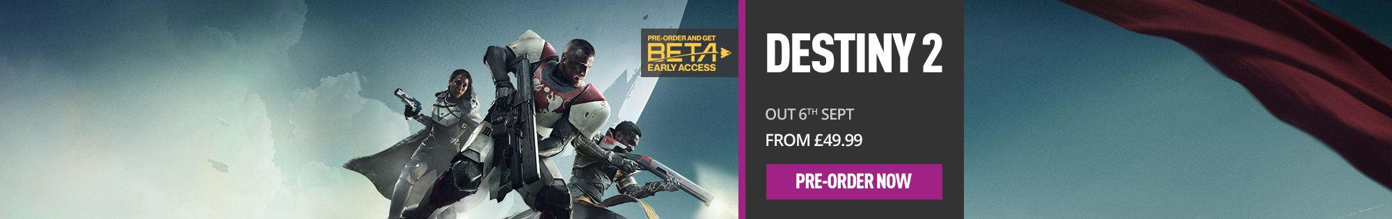 Destiny 2 for PlayStation 4 and Xbox One - Homepage banner