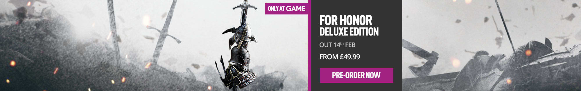 For Honor Deluxe Edition - Only at GAME for Xbox One, PS4 and PC - Pre-order Now at GAME.co.uk