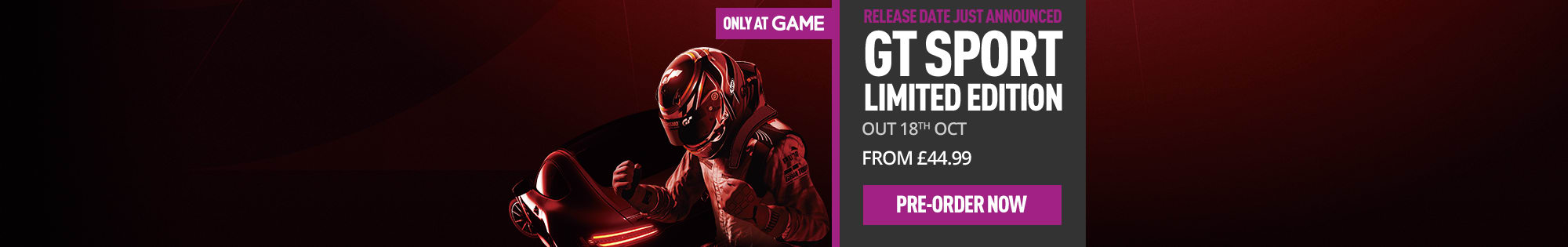GT Sport - Pre-Order Now at GAME.co.uk