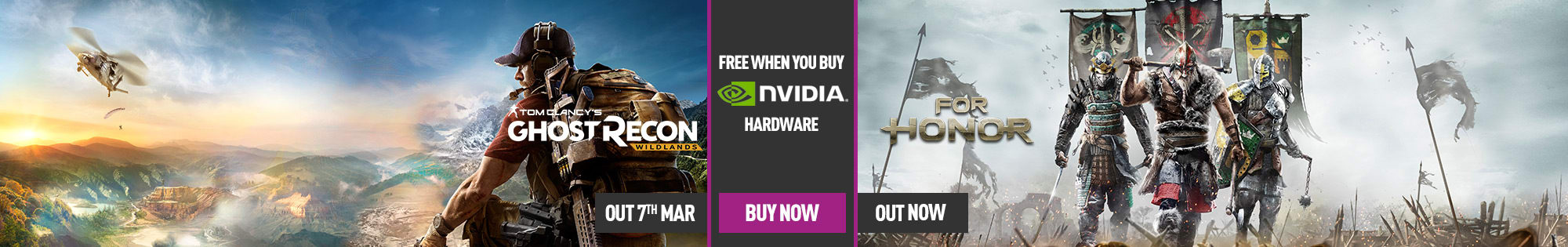 For Honor or Tom Clancy's Ghost Recon Wildlands Free When You Buy Select Nvidia GeForce 10 Series Hardware