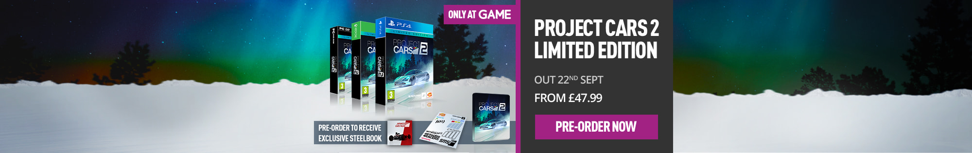 Project Cars 2 Limited Edition - Only at GAME - Homepage Banner