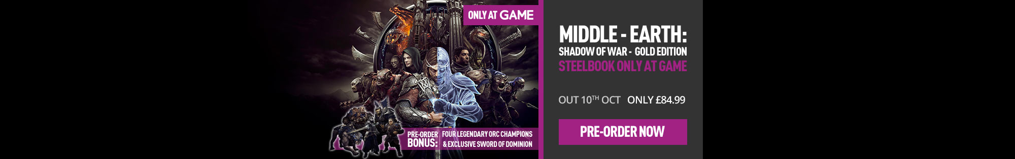 Pre-order Middle Earth: Shadow of War - Gold Edition - Homepage banner