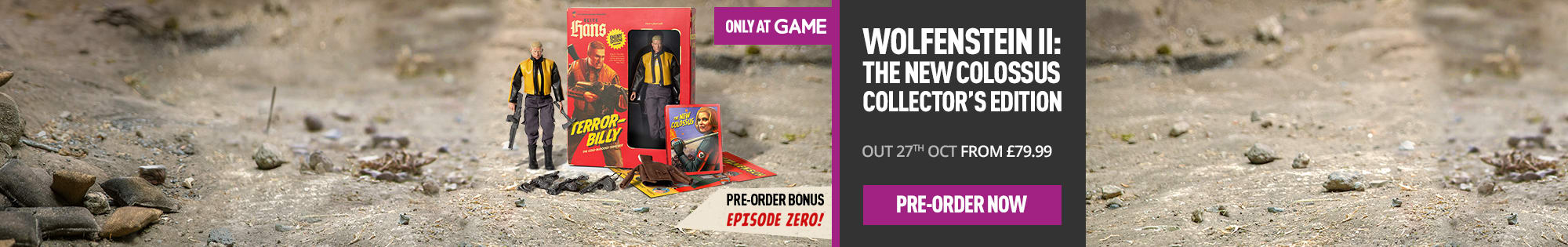 Pre-order Wolfenstein II Collector's Edition - Only at GAME.co.uk - Homepage banner