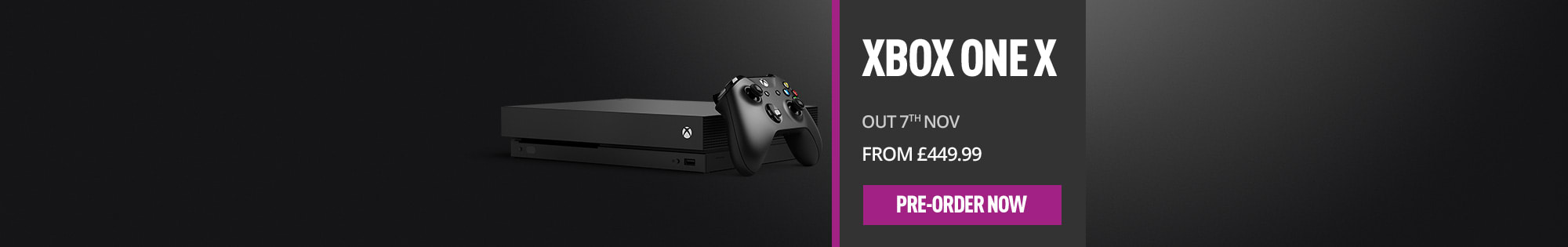 Xbox One X  – Homepage Banner