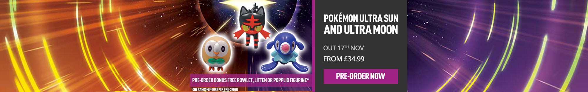 Free gift when you Pre-order Pokemon Ultra Sun or Ultra Moon! - Homepage Banner