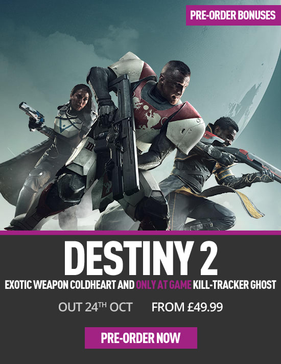 Destiny 2 on PC with Coldheart Exotic Weapon and Kill-tracker Ghost Shell - Only at GAME  - Pre-order Now at GAME.co.uk