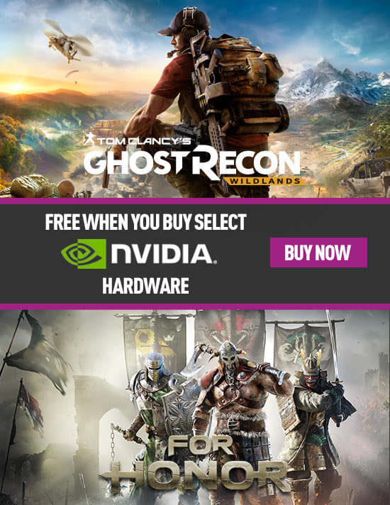 Free For Honor or Ghost Recon Wildlands with Select Nvidia PC Hardware - Buy Now at GAME.co.uk