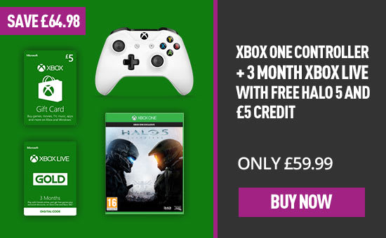 Xbox Controller with 3 Month Xbox Live and FREE Halo 5 Guardians and £5 Bonus Credit