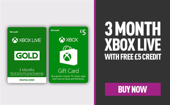 3 Months Xbox Live with Free £5 Credit