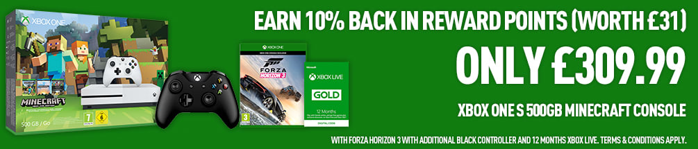 Earn 10% Back in Reward Points Worth £31 on Xbox One S Minecraft Favourites Pack, Forza Horizon 3, Extra Controller and 12 Months LIVE Gold - Buy Now at GAME.co.uk