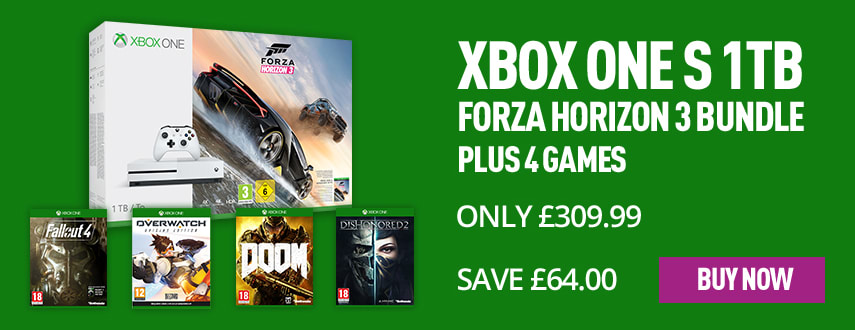 Xbox One S with 4 Games - Only £309.99 - Homepage eSpot