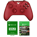 Xbox One Wireless Controller - Red with Xbox Live 3 Month Gold Membership