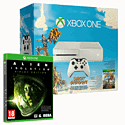 White Xbox One Console with Sunset Overdrive and Alien: Isolation Ripley Edition