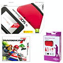 Nintendo 3DS XL Red with GAMEware 3DS XL Starter Pack and Mario Kart 7