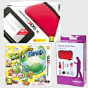 Nintendo 3DS XL Red with Yoshi's New Island and 3DS XL Deluxe Starter Pack