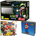 Nintendo 3DS XL Silver with Luigi's Mansion 2, Super Smash Bros and Super Mario Folio Kit - Only at GAME