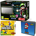 Nintendo 3DS XL Silver with Luigi's Mansion 2, New Super Mario Bros 2 and Super Mario Folio Kit - Only at GAME