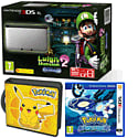 Nintendo 3DS XL Silver with Luigi's Mansion 2, Pokemon Alpha Sapphire and Pikachu Folio Kit - Only at GAME