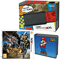 New Nintendo 3DS (Black) with Monster Hunter 4 Ultimate and Super Mario Folio Kit