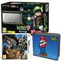Nintendo 3DS XL Silver with Luigi's Mansion 2, Monster Hunter 4 Ultimate and Super Mario Folio Kit - Only at GAME