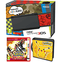 New Nintendo 3DS (Black) with Pokemon Omega Ruby and Pikachu Folio Kit
