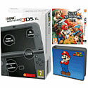 New Nintendo 3DS XL (Metallic Black) with Super Smash Bros and Super Mario Folio Kit