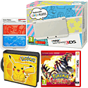 New Nintendo 3DS (White) with Pokemon Omega Ruby, Pikachu Folio Kit and Pokemon Cover Plate