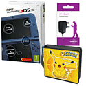New Nintendo 3DS XL (Blue) With Charger & Pikachu Accessory Kit